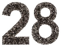 Arabic numeral 28, twenty eight, from black a natural charcoal, Royalty Free Stock Images