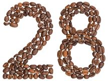 Arabic numeral 28, twenty eight, from coffee beans, isolated on. White background Stock Photography