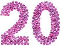Arabic numeral 20, twenty, from flowers of lilac, isolated on wh. Ite background stock image