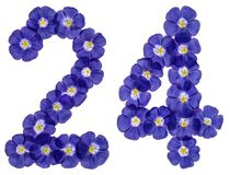 Arabic numeral 24, twenty four, from blue flowers of flax, isolated on white background stock photo