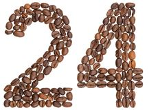 Arabic numeral 24, twenty four, from coffee beans, isolated on w. Hite background stock photography