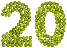 Arabic numeral 20, twenty, from green peas, isolated on white ba royalty free stock photo