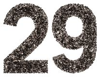 Arabic numeral 29, twenty nine, from black a natural charcoal, i. Solated on white background Stock Images
