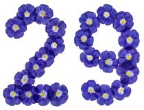 Arabic numeral 29, twenty nine, from blue flowers of flax, isola. Ted on white background Stock Image