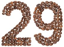 Arabic numeral 29, twenty nine, from coffee beans, isolated on w. Hite background Stock Photos