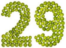 Arabic numeral 29, twenty nine, from green peas, isolated on whi. Te background Royalty Free Stock Photo