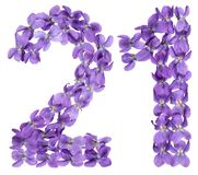 Arabic numeral 21, twenty one, from flowers of viola, isolated o. N white background Stock Images