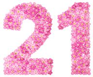 Arabic numeral 21, twenty one, from pink forget-me-not flowers,. Isolated on white background Stock Photos