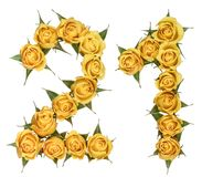 Arabic numeral 21, twenty one, from yellow flowers of rose, isolated on white background.  stock photo
