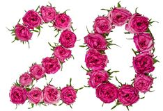 Arabic numeral 20, twenty, from red flowers of rose, isolated on. White background stock image