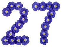 Arabic numeral 27, twenty seven, from blue flowers of flax, isol. Ated on white background Royalty Free Stock Image