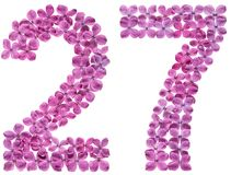 Arabic numeral 27, twenty seven, from flowers of lilac, isolated. On white background stock photo
