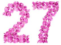 Arabic numeral 27, twenty seven, from flowers of viola, isolated. On white background Royalty Free Stock Image