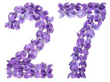 Arabic numeral 27, twenty seven, from flowers of viola, isolated. On white background Stock Photos