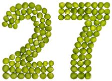 Arabic numeral 27, twenty seven, from green peas, isolated on wh. Ite background Royalty Free Stock Image