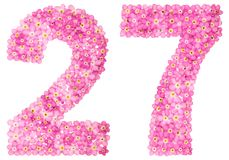 Arabic numeral 27, twenty seven, from pink forget-me-not flowers. Isolated on white background Royalty Free Stock Image