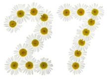 Arabic numeral 27, twenty seven, from white flowers of chamomile. Isolated on white background Stock Photos