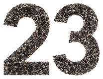 Arabic numeral 23, twenty three, from black a natural charcoal,. Isolated on white background Royalty Free Stock Photos