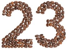 Arabic numeral 23, twenty three, from coffee beans, isolated on. White background Royalty Free Stock Image