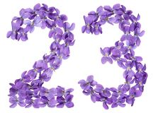 Arabic numeral 23, twenty three, from flowers of viola, isolated. On white background Royalty Free Stock Photos