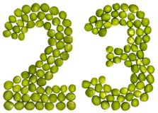 Arabic numeral 23, twenty three, from green peas, isolated on wh. Ite background Stock Photography