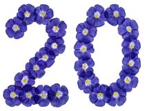 Arabic numeral 20, twenty, two, from blue flowers of flax, isola Stock Images
