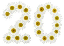 Arabic numeral 20, twenty, two, from white flowers of chamomile, Stock Photography