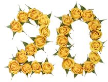 Arabic numeral 20, twenty, from yellow flowers of rose, isolated. On white background stock photo