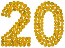 Arabic numeral 20, twenty, from yellow flowers of tansy, isolate Royalty Free Stock Images