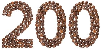 Arabic numeral 200, two hundred, from coffee beans, isolated on. White background Stock Images
