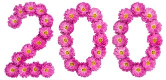 Arabic numeral 200, two hundred, from flowers of chrysanthemum,. Isolated on white background Stock Photography
