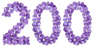 Arabic numeral 200, two hundred, from flowers of viola, isolated Stock Photography