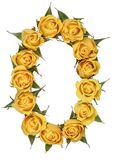Arabic numeral 0, zero, from yellow flowers of rose, isolated on. White background royalty free stock photography