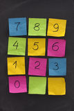 Arabic numerals on sticky notes and blackboard Royalty Free Stock Images