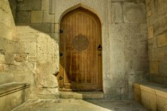 Arabic oriental styled door in Azerbaijan in old town Royalty Free Stock Photography