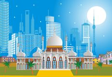 Arabic Palace on the background of the modern city. royalty free illustration