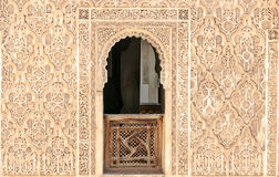 Arabic Palace Ben Youssef. Wall with window of Arabic Palace Ben Youssef in Marrakech, Morocco Royalty Free Stock Photos
