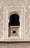 Arabic Palace Ben Youssef. Wall with window of Arabic Palace Ben Youssef in Marrakech, Morocco. It is an image vertical Stock Photography