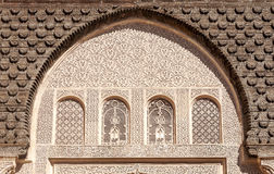 Arabic Palace Ben Youssef. Wall with windows of Arabic Palace Ben Youssef in Marrakech, Morocco Royalty Free Stock Photos
