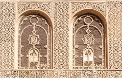 Arabic Palace Ben Youssef. Wall with windows of Arabic Palace Ben Youssef in Marrakech, Morocco Royalty Free Stock Image