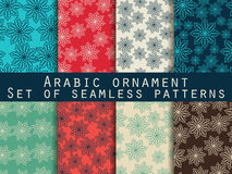 Arabic pattern. Islamic ornament. Set of seamless patterns. Retro colors. Royalty Free Stock Photo