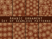 Arabic pattern. Islamic ornament. Set of seamless patterns.  For wallpaper, bed linen, tiles, fabrics, backgrounds. Royalty Free Stock Photo