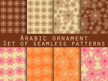 Arabic pattern. Islamic ornament. Set of seamless patterns.  For wallpaper, bed linen, tiles, fabrics, backgrounds. Royalty Free Stock Images