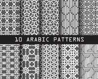 10 arabic patterns. Pattern Swatches, vector, Endless texture can be used for wallpaper, pattern fills, web page,background,surface royalty free illustration