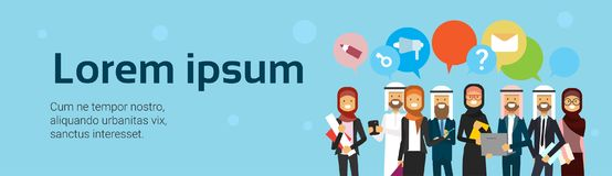 Arabic people group with chat bubbles over blue background. Full length arab business team wearing traditional clothes. Flat copy space, banner, vector stock illustration