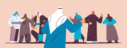 arabic people group in traditional clothes standing together and discussing during meeting horizontal