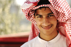 Arabic person smiling. Arabic person man smiling, outdoor Royalty Free Stock Photo