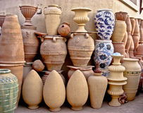 Arabic pottery handmade in colors Fostat cairo Royalty Free Stock Photography