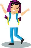 Arabic pupil in national clothes flat style. Royalty Free Stock Photo