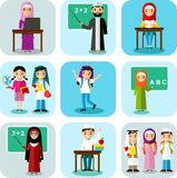 Arabic pupil and teacher in national clothes in flat style. Royalty Free Stock Images